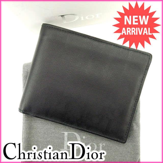 ディオール・オム Dior homme 二つ折り財布 メンズ ブラック レザー (あす楽対応)良品 人気【中古】 Y1549