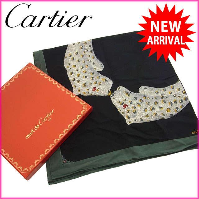 【中古】 【送料無料】 カルティエ Cartier スカーフ /メンズ可 /パンテールプリント ロゴ ブラック×グリーン系 Silk/100% (あす楽対応)(美品・即納) N046
