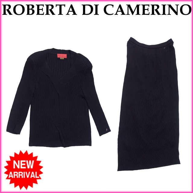 【中古】 【送料無料】 ロベルタディカメリーノ ROBERTA DI CAMERINO セットアップ ニット リブ レディース Vネックトップス×ロングスカート R金具付き ブラック RY/96%NY/3%PU/1%(スカート裏地)CP (あす楽対応)美品 人気 O130