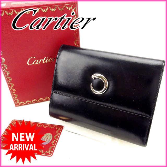 【送料無料】 カルティエ Cartier 三つ折り財布 パンテール ブラック レザー (あす楽対応) 人気 【中古】 C1657