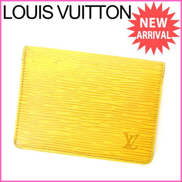 【送料無料】 ルイヴィトン Louis Vuitton 定期入れ メンズ可 ポルト 2カルト ヴェルティカル エピ タッシリイエロー レザー (あす楽対応) 人気 【中古】 D1262
