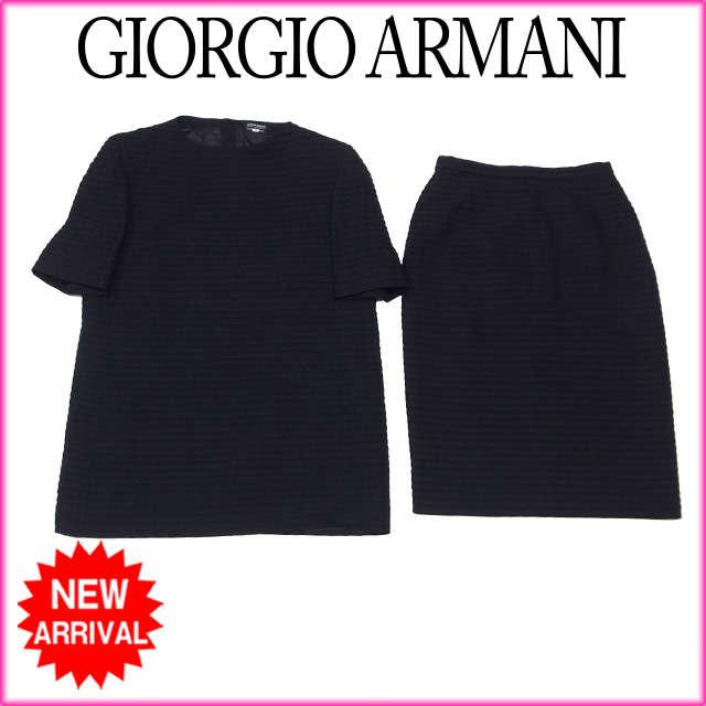 【中古】 【送料無料】 ジョルジオ アルマーニ GIORGIO ARMANI セットアップ タイトスカート レディース 半袖トップス ティアード ブラック W 92%NY 8%(裏地)RY 100% (あす楽対応) 美品 人気 C1653