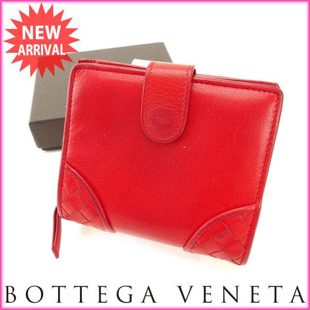 【送料無料】 ボッテガ・ヴェネタ BOTTEGA VENETA 二つ折り財布 メンズ可 イントレチャート レッド レザー (あす楽対応) 【中古】 J7231