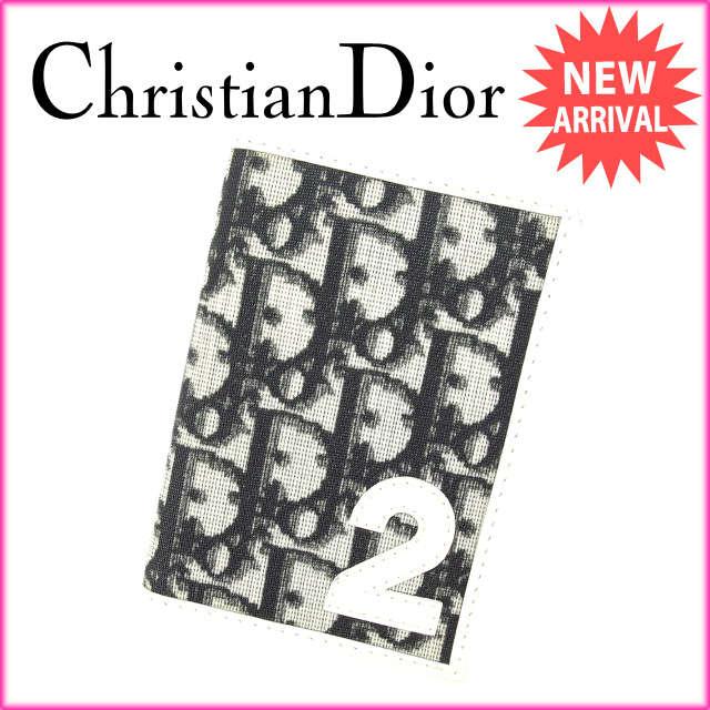 【送料無料】 クリスチャン・ディオール Christian Dior 定期入れ パスケース メンズ可 トロッター ブラック×ホワイト PVC×レザー (あす楽対応)廃盤 レア 人気 【中古】 C1809