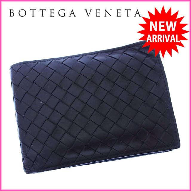 【送料無料】 ボッテガヴェネタ BOTTEGA VENETA 二つ折り財布 コンパクトサイズ メンズ可 イントレチャート 113112 ブラック レザー (あす楽対応) 【中古】 J7935