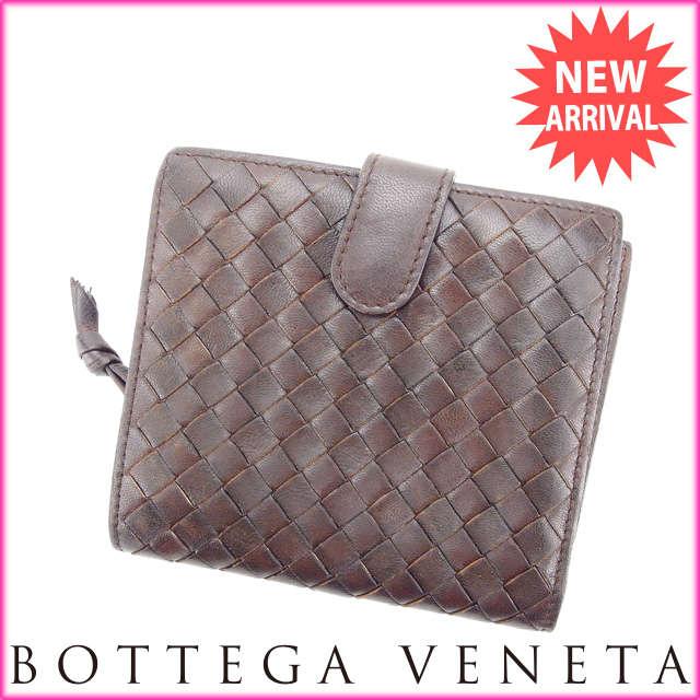 【送料無料】 ボッテガ・ヴェネタ BOTTEGA VENETA 二つ折り財布 ラウンドファスナー メンズ可 イントレチャート ブラウン レザー (あす楽対応) 【中古】 J9008