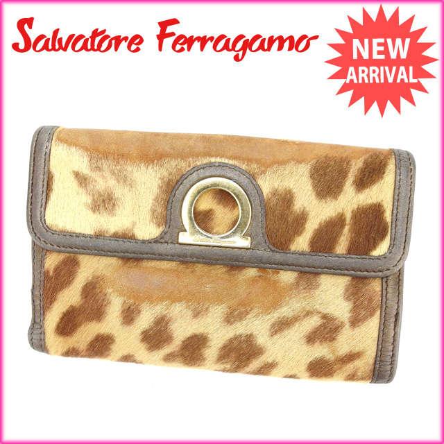 【送料無料】 サルヴァトーレ・フェラガモ Salvatore Ferragamo Wホック財布 レディース ハラコ ベージュ×ブロン レザー (あす楽対応) 【中古】 A861