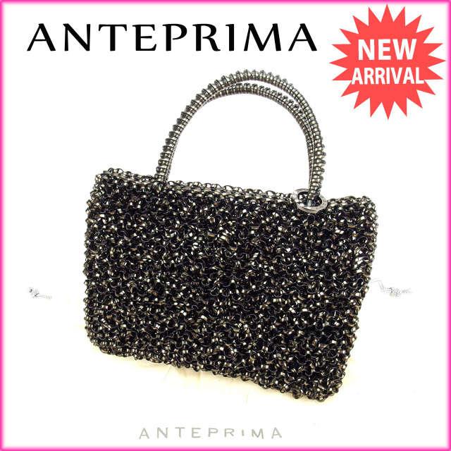 【中古】 【送料無料】 アンテプリマ ANTEPRIMA ポーチ ミニハンドバッグ ブラック ワイヤー (あす楽対応)良品 A889s