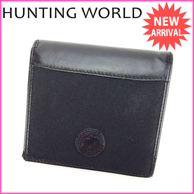 【中古】 【送料無料】 ハンティングワールド HUNTING WORLD 二つ折り財布 メンズ可 ブラック キャンバス×レザー (あす楽対応) A939