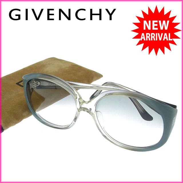 ジバンシィ GIVENCHY サングラス メガネ メンズ可 サイドロゴモチーフ入り スクエア型 ELKA-104 クリアグレー系 プラスティック (あす楽対応)良品 【中古】 Y2751