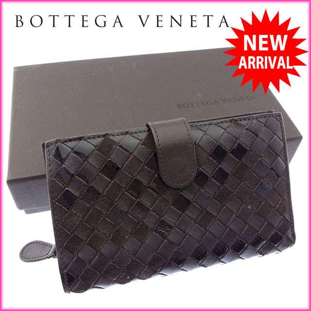 【送料無料】 ボッテガヴェネタ BOTTEGA VENETA 二つ折り財布 ラウンドファスナー メンズ可 イントレチャート 121060 ダークブラウン レザー (あす楽対応) 人気 【中古】 J9187