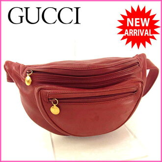 Gucci by GUCCI waist bag waist pouch ladies logo Bordeaux / gold leather with quality sale J9243