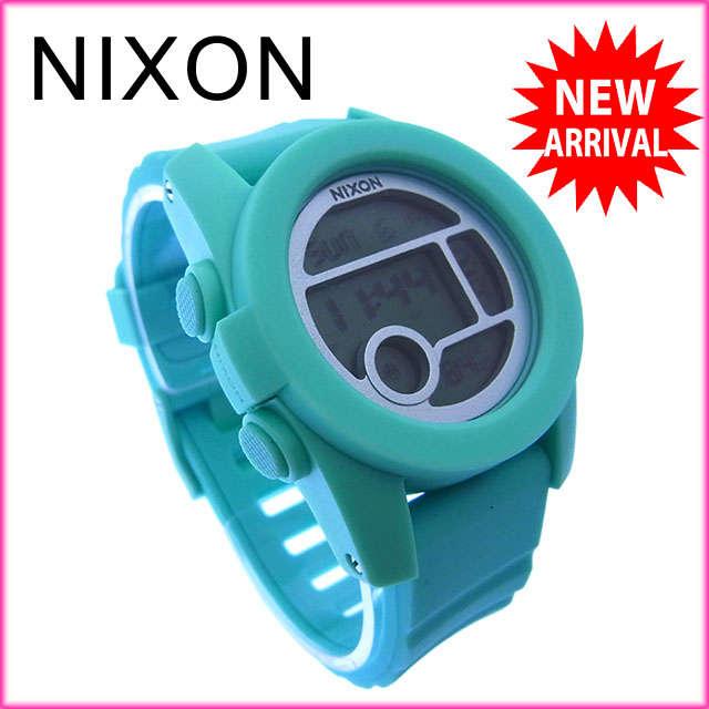 【中古】 【送料無料】 ニクソン 腕時計 クロノグラフ ライトブルー Y2591s
