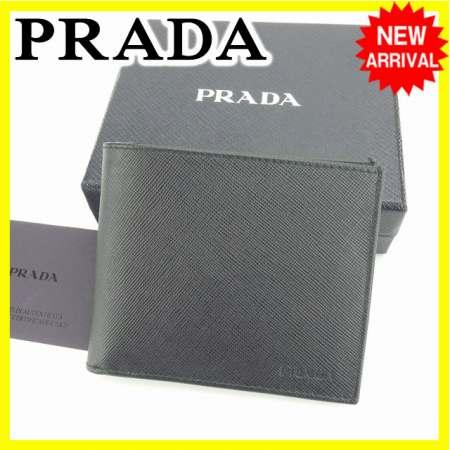【送料無料】 プラダ PRADA 二つ折り札入れ メンズ ロゴ 2M1100 ブラック レザー (あす楽対応) 美品 【中古】 N330