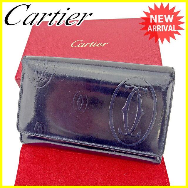 【送料無料】 カルティエ Cartier L字ファスナー財布 二つ折り財布 メンズ可 ハッピーバースデー ダークネイビー×シルバー エナメルレザー 人気 セール 【中古】 A1390