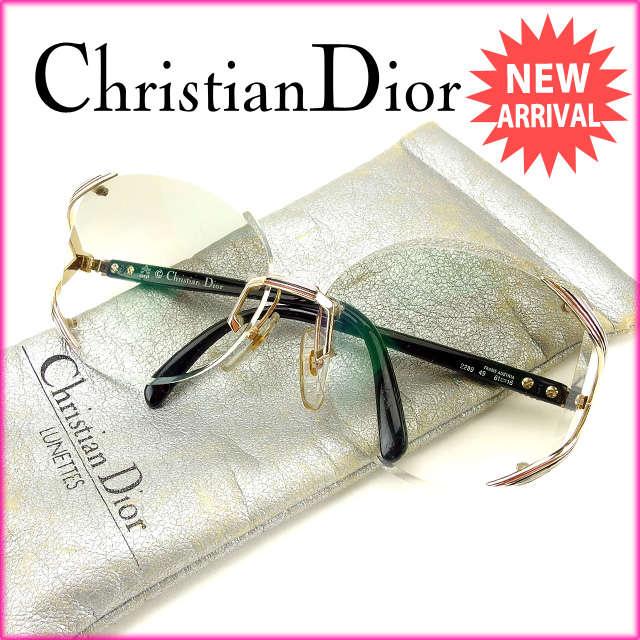 【中古】 【送料無料】 クリスチャン・ディオール Christian Dior サングラス 度あり メンズ可 ゴールド×ブラック (あす楽対応)訳あり美品 Y2045s
