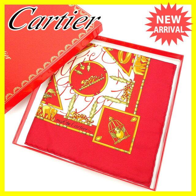 【送料無料】 カルティエ Cartier スカーフ ファッションアイテム レディース レッド×イエローゴールド系 SILK/100% (あす楽対応)未使用品 【中古】 Y3422 .