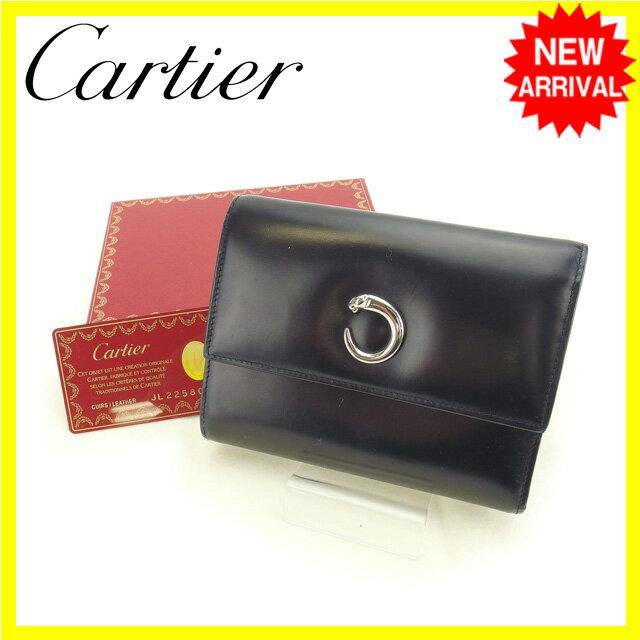 【送料無料】 カルティエ Cartier 三つ折り財布 レディース パンテール ブラック レザー (あす楽対応) 即納【中古】 E964