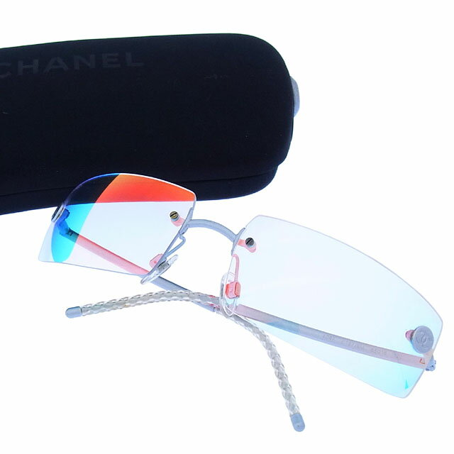 シャネル CHANEL サングラス メガネ メンズ可 ツーポイント 縁なし ココボタン 4047 c167/6M クリアオーロラ×シルバー ステンレススチール×プラスティック (あす楽対応)激安 セール【中古】 Y2137