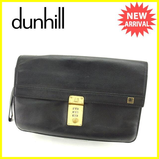 【中古】 【送料無料】 ダンヒル dunhill クラッチバッグ メンズ ロゴプレート ブラック×ゴールド レザー 人気 Y6167