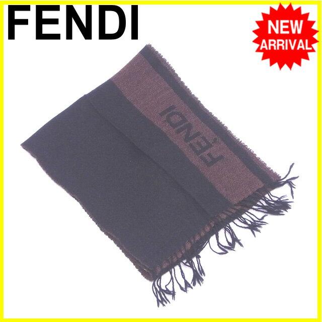 フェンディ FENDI マフラー フリンジ付き ロゴライン ブラック×ブラウン ウール/100% 人気 【中古】 Y5118 .