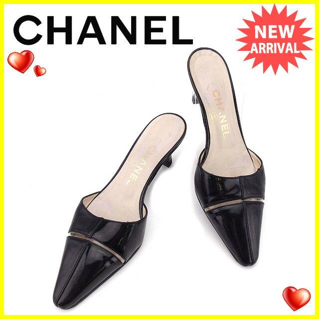 シャネル CHANEL ミュール シューズ 靴 レディース ♯35C ポインテッドトゥ ブラック×クリア エナメルレザー 良品 セール 【中古】 T1434