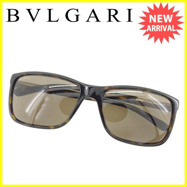 ブルガリ BVLGARI サングラス アイウエア メンズ可 ロゴプレート ブラウン 人気 セール 【中古】 T1607
