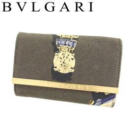 【中古】 ブルガリ BVLGARI キーケース 6連キーケース レディース ジュエルプリント ブラウン ゴールド系 キャンバス×レザー 人気 セール F1387