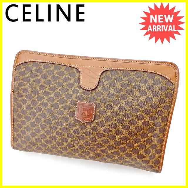 セリーヌ Celine クラッチバッグ セカンドバッグ バッグ メンズ可 マカダム ブラウン系 PVC×レザー 人気 セール 【中古】 A1603