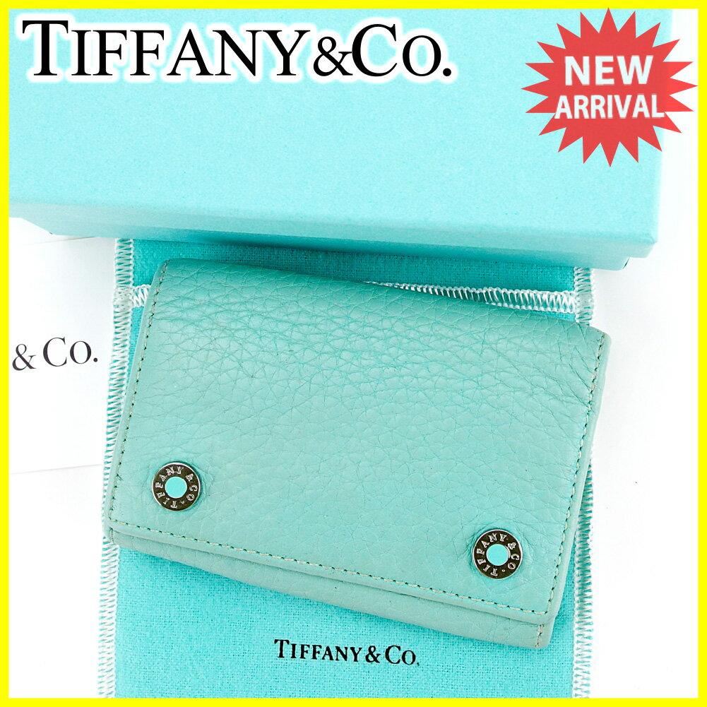 ティファニー Tiffany&Co . キーケース 6連キーケース レディース メンズ 可 ロゴボタン ティファニーブルー×シルバー レザー 良品 セール 【中古】 S543 .