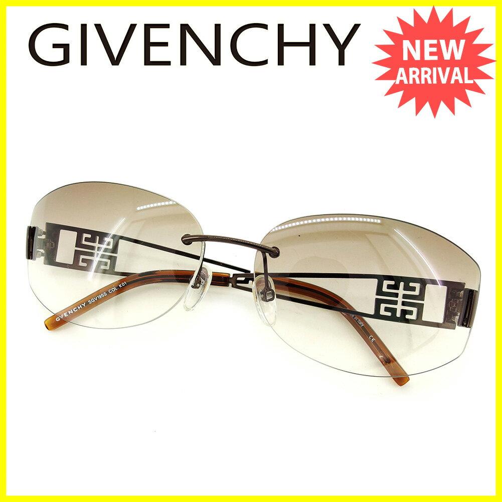 ジバンシィ GIVENCHY サングラス メガネ レディース メンズ 可 ラインストーン付き 4Gロゴ クリアブラウン×ブロンズ系 プラスチック×ブロンズ金具 美品 セール 【中古】 Q433