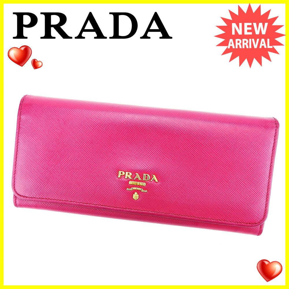 プラダ PRADA 長財布 二つ折り 財布 メンズ可 ピンク サフィアーノレザー 人気 良品 【中古】 L1666