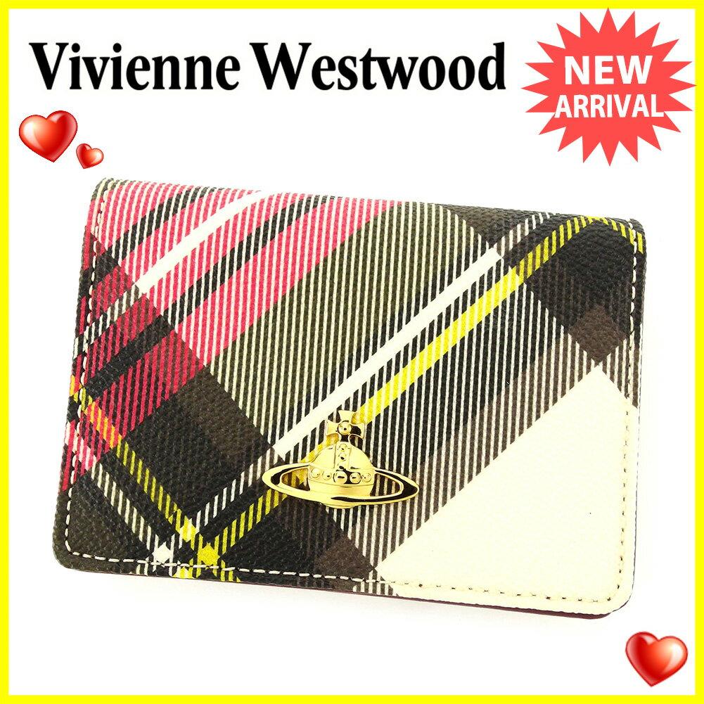 ヴィヴィアン ウエストウッド Vivienne Westwood カードケース 名刺入れ レディース メンズ 可 ニューエキシビジョン チェック オーブ マルチ×ゴールド×パープル PVC×レザー 未使用品 セール 【未使用】 T3854