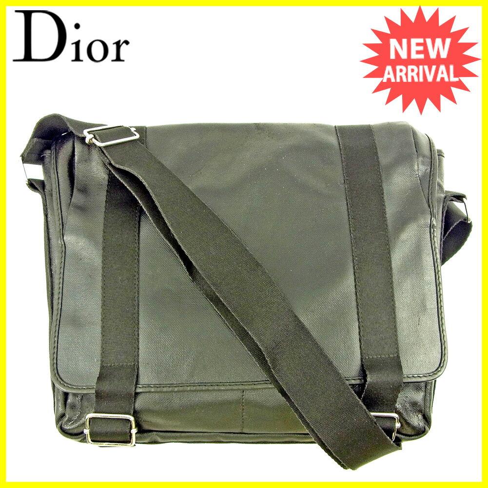 ディオール オム Dior Homme ショルダーバッグ メッセンジャーバッグ レディース メンズ 可 ブラック PVC×キャンバス 人気 セール 【中古】 T3780