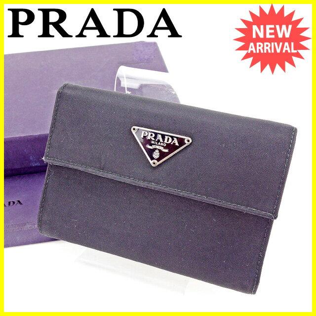 プラダ PRADA 三つ折り財布 財布 メンズ可 ブラック ナイロン×レザー 人気 セール 【中古】 A1535