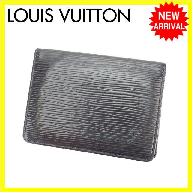 ルイヴィトン Louis Vuitton 定期入れ パスケース メンズ可 ポルト2カルトヴェルティカル エピ M63202 ノワール(ブラック) エピレザー (あす楽対応)人気 セール(参考定価25200円)【中古】 L537