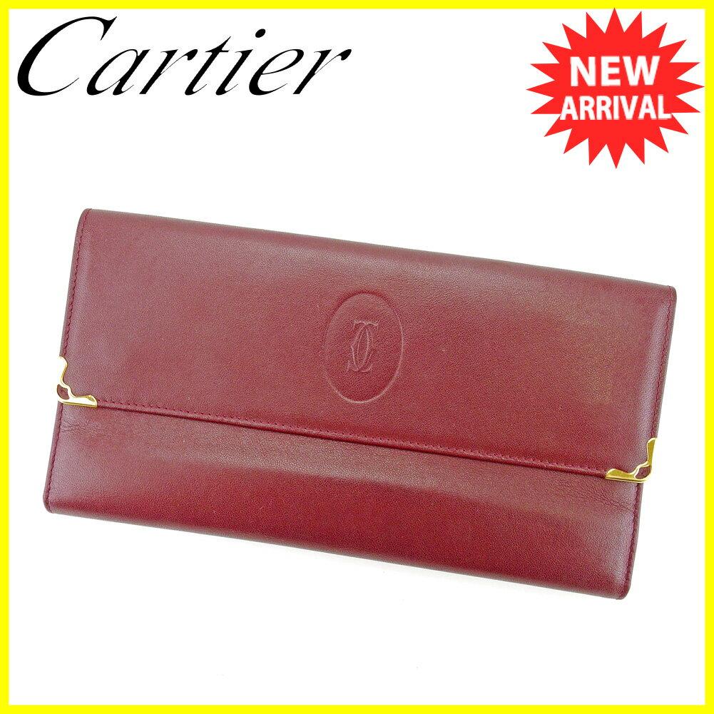 カルティエ 長財布 財布 がま口 三つ折り ボルドー×ゴールド 【中古】 T4371s