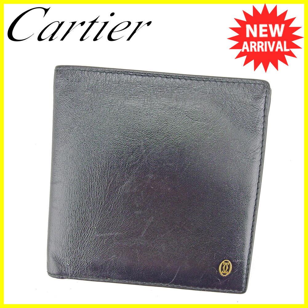 カルティエ 二つ折り 財布 ブラック ゴールド 【中古】 T5197s
