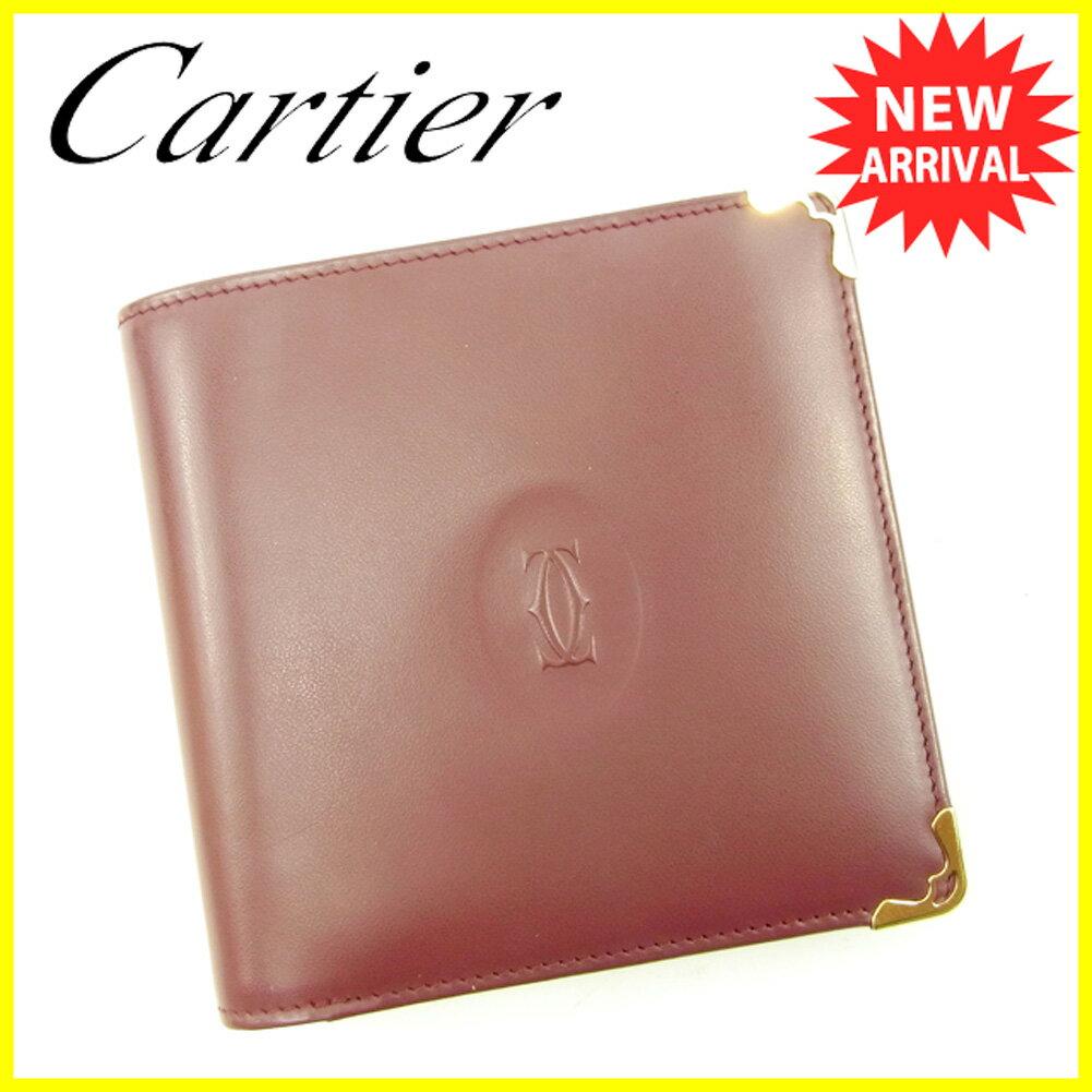 カルティエ 二つ折り 財布 ボルドー×ゴールド 【中古】 T4617s