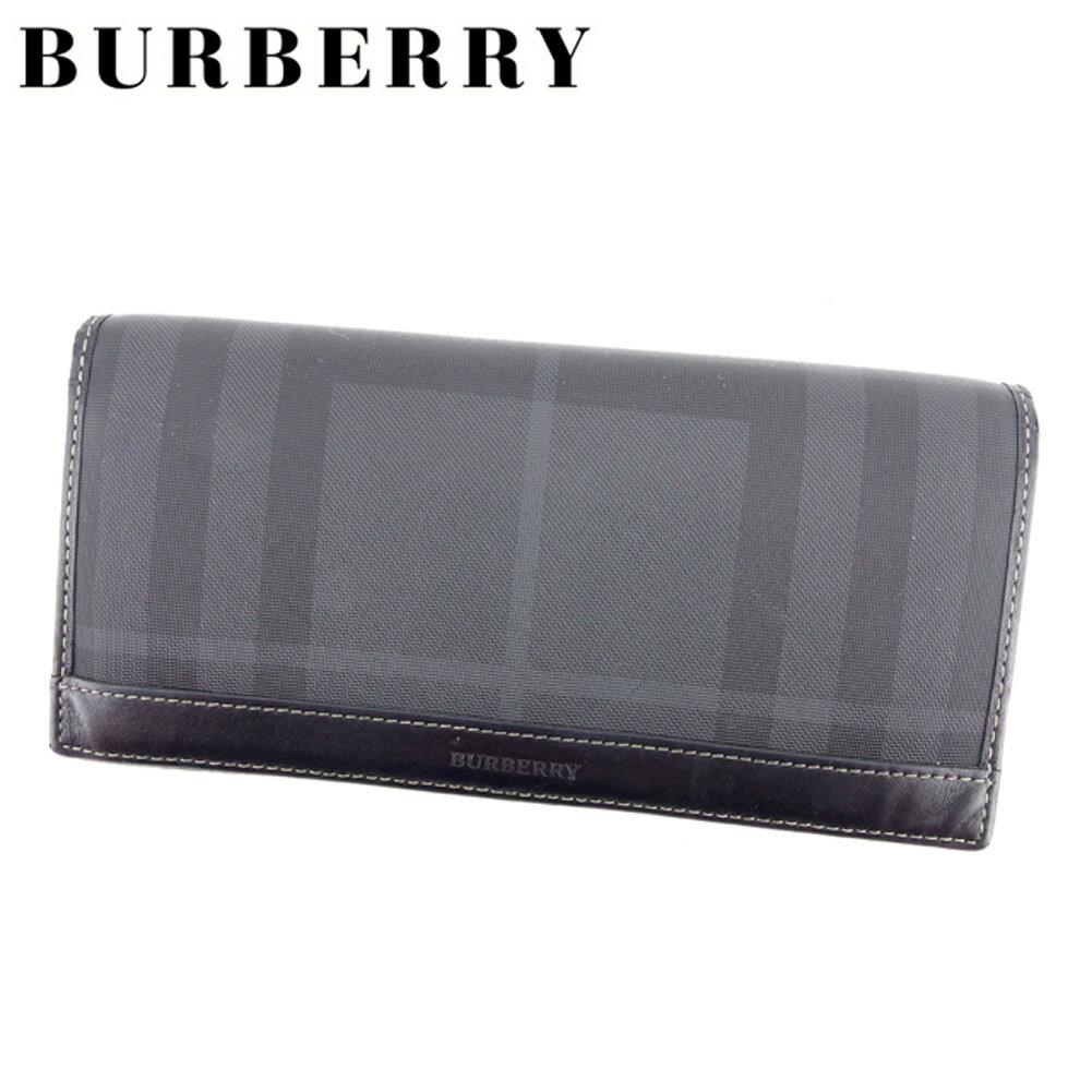 【中古】 バーバリー BURBERRY 長財布 ファスナー付き 長財布 レディース メンズ 可 ブラック PVC×レザー 人気 セール D1855