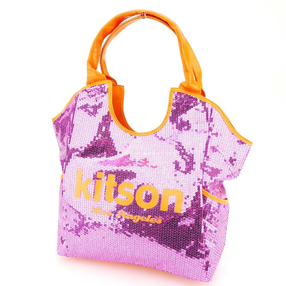 【中古】 キットソン kitson トートバッグ トート ショルダーバッグ レディース スパンコール ピンク オレンジ ポリエステル×スパンコール 訳あり セール P746