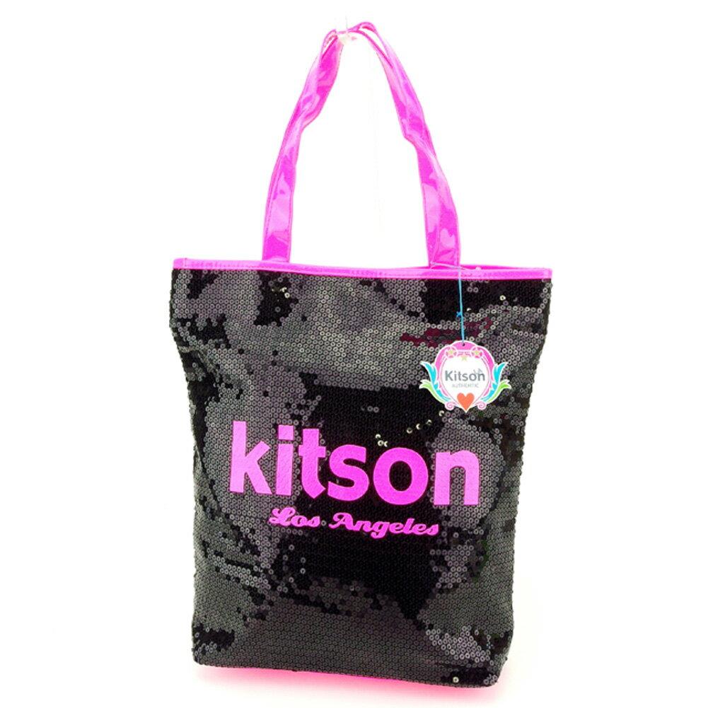 【中古】 キットソン kitson トートバッグ トート ショルダーバッグ レディース スパンコール ブラック ピンク スパンコール×ポリエステルトートバッグ P748s