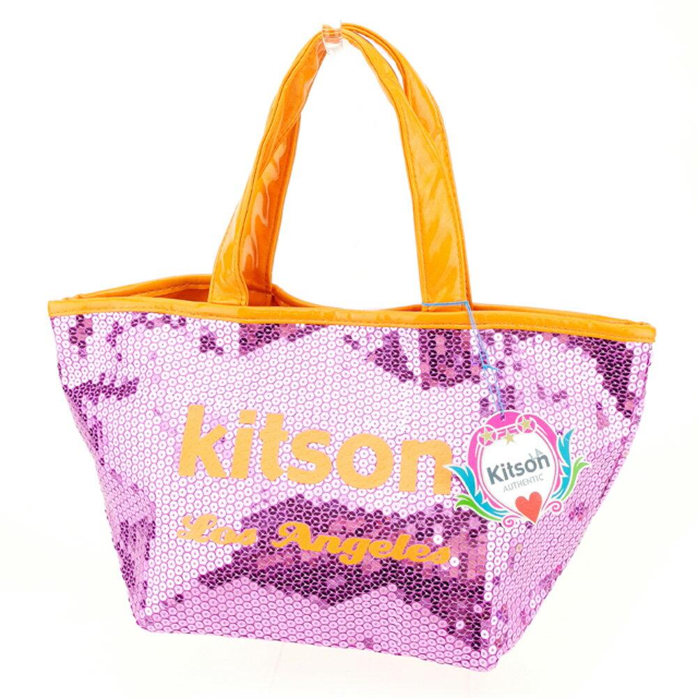 【中古】 キットソン kitson トートバッグ トート ハンドバッグ レディース スパンコール ピンク オレンジ スパンコール×ポリエステルトートバッグ P750s