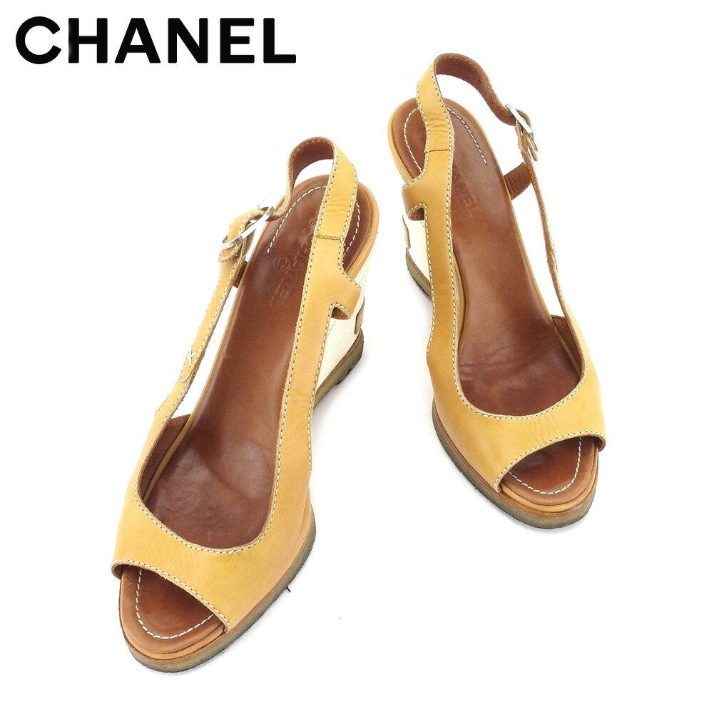 【楽天スーパーSALE】 【20%OFF】 【中古】 【送料無料】 シャネル サンダル シューズ 靴 レディース ベージュ ホワイト 白 キャンバス×レザー Chanel T5075