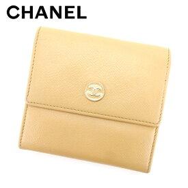 62e9e6b2f828 【中古】 シャネル CHANEL Wホック財布 コンパクトサイズ レディース ココボタン ベージュ レザ-