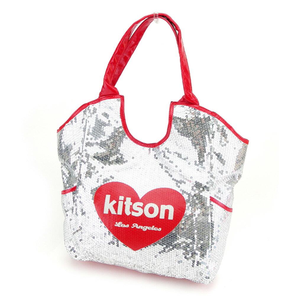 【中古】 キットソン kitson ショルダーバッグ トートバッグ メンズ可 シルバー レッド ショルダーバッグ T7656s