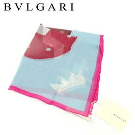 【中古】 ブルガリ BVLGARI スカーフ ミニスカーフ レディース ブルー ピンク SILK/100% 未使用品 セール T8273