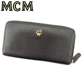 【中古】 MCM 長財布 ラウンドファスナー 財布 レディース メンズ スタッズ ブラック ゴールド レザー 人気 良品 L2482 .