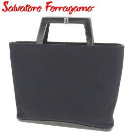 【中古】 サルヴァトーレ フェラガモ ハンドバッグ バック トートバッグ バック ロゴ ブラック キャンバス×レザー Salvatore Ferragamo C3274 ブランド