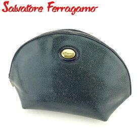 【中古】 サルヴァトーレ フェラガモ Salvatore Ferragamo ポーチ クラッチバッグ セカンドバッグ レディース メンズ グリーン ネイビー ゴールド 型押しレザー C3280